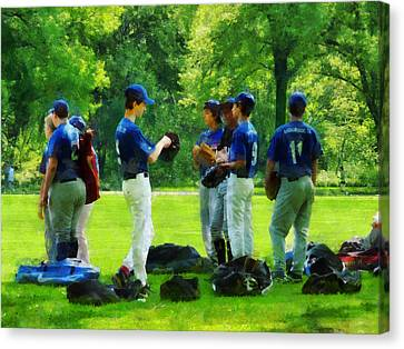 Waiting To Go To Bat Canvas Print by Susan Savad