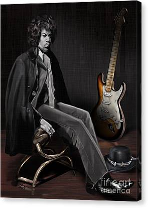 Waiting To Play - The  Jimi Hendrix Series Canvas Print by Reggie Duffie