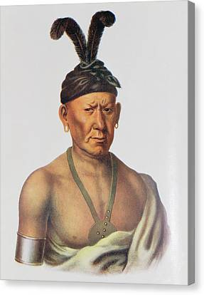 Wakechai Or Crouching Eagle, A Sauk Chief, Illustration From The Indian Tribes Of North America Canvas Print