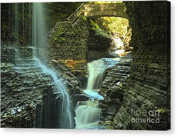 Wakins Glen Falls Under The Bridge Canvas Print by Adam Jewell
