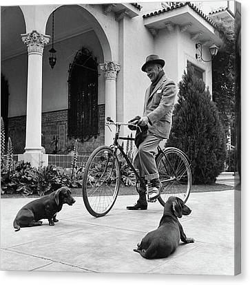 Waldemar Schroder On A Bicycle With Two Dogs Canvas Print by Luis Lemus