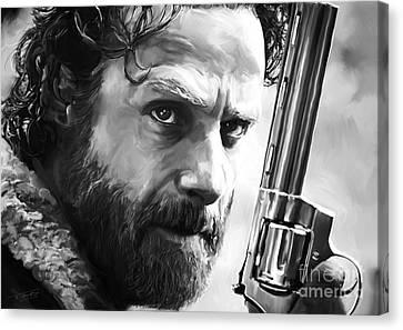 Shower Canvas Print - Walking Dead - Rick Grimes by Paul Tagliamonte