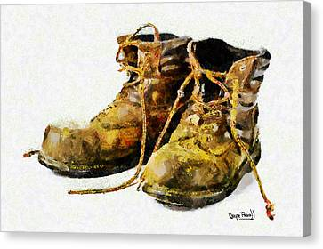 Canvas Print featuring the painting Walk A Mile In My Shoes by Wayne Pascall