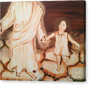 Canvas Print featuring the painting Walk By Me by Brindha Naveen