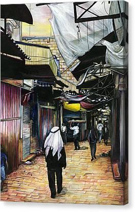 Walk Home Through Antiquity Old Jerusalem Canvas Print by Gaye Elise Beda