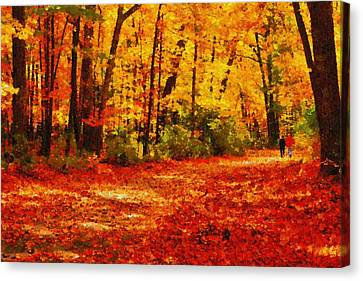 Walk In An Autumn Park Canvas Print