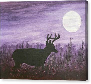 Canvas Print featuring the painting Walk In The Moonlight by Dan Wagner