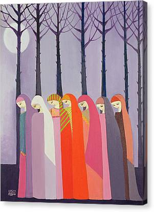 Walk In The Park, 1989 Acrylic On Canvas Canvas Print by Laila Shawa