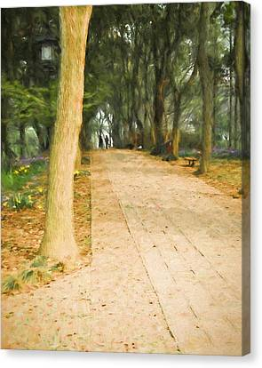 Canvas Print featuring the painting Walk In The Park by Ike Krieger