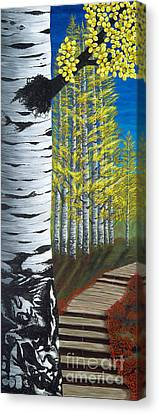 Walk Through Aspens Triptych 1 Canvas Print by Rebecca Parker