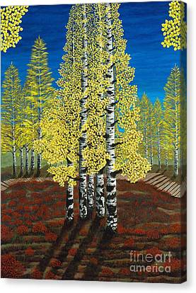 Walk Through Aspens Triptych 2 Canvas Print by Rebecca Parker