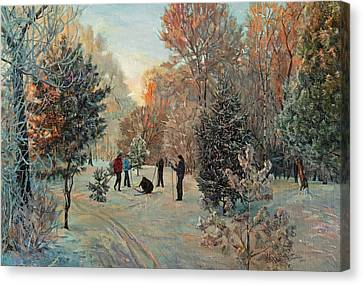 Walk To Skiing In The Winter Park Canvas Print