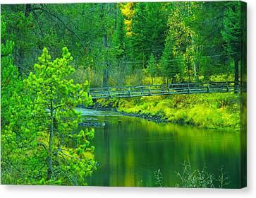 Walkbridge Across The Moyie Canvas Print by Jeff Swan