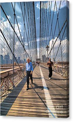 Walkers And Joggers On The Brooklyn Bridge Canvas Print by Amy Cicconi