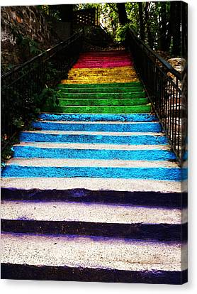 Walkin' On Rainbow Canvas Print by Lucy D