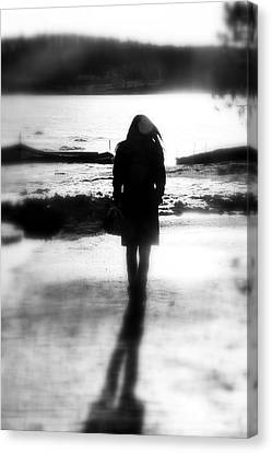 Walking Alone Canvas Print by Valentino Visentini