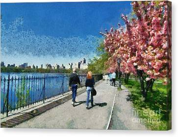 Walking Around Reservoir In Central Park Canvas Print by George Atsametakis