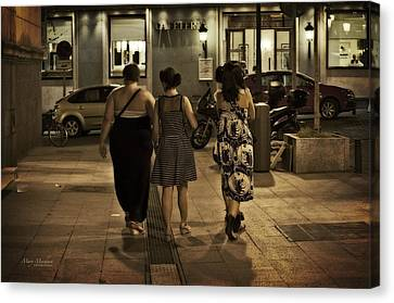 Walking At Night - Madrid Spain Canvas Print by Mary Machare