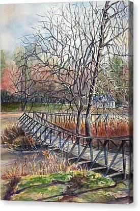 Walking Bridge Canvas Print by Janet Felts