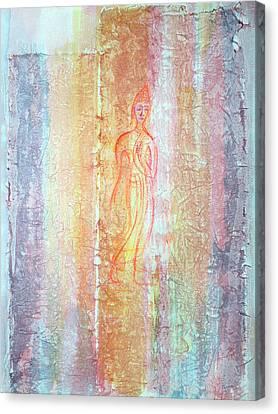 Walking Buddha Canvas Print by Asha Carolyn Young