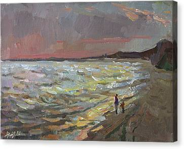 Walking By The Sea Canvas Print by Juliya Zhukova