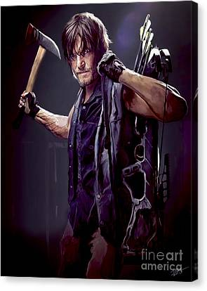 Shower Canvas Print - Walking Dead - Daryl Dixon by Paul Tagliamonte