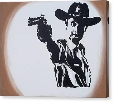 Walking Dead Rick Shoots Canvas Print by Marisela Mungia