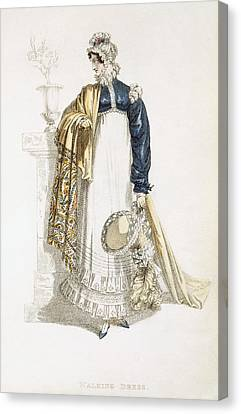 Ostrich Feathers Canvas Print - Walking Dress, Fashion Plate by English School
