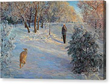Walking In A Winter Park Canvas Print