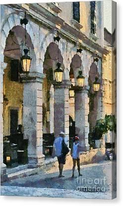 Spianada Square In Corfu City Canvas Print by George Atsametakis