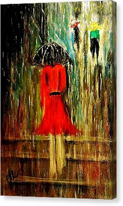 Canvas Print featuring the painting Walking In The Rain.. by Cristina Mihailescu