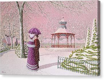 Walking In The Snow Canvas Print by Peter Szumowski