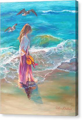 Canvas Print featuring the painting Walking In The Waves by Karen Kennedy Chatham