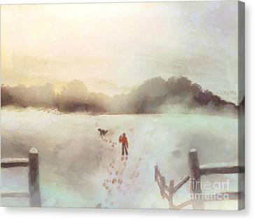 Dog Walking In Winter Canvas Print by Pixel Chimp