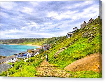 Walking Into Sennen Cove On The Cornish Coast Canvas Print