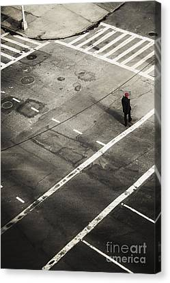 Crosswalk Canvas Print - Walking On A City Street Alone by Margie Hurwich