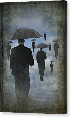 Walking On Air In A Cloudy Blue Sky Canvas Print by Randall Nyhof