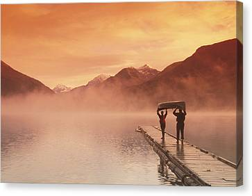 Walking On Dock Robe Lake  Sunrise Sc Canvas Print by Michael DeYoung