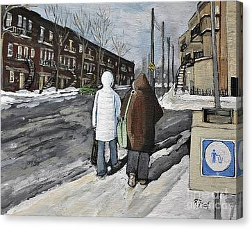 Walking On The Avenues Canvas Print by Reb Frost