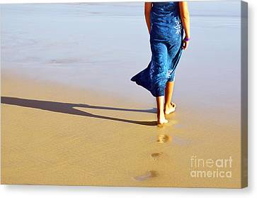 Walking On The Beach Canvas Print by Carlos Caetano