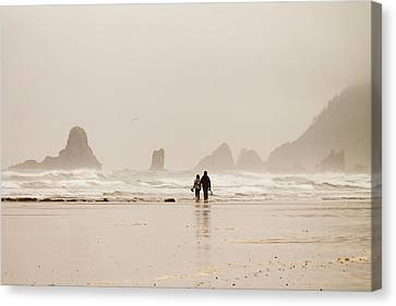 Walking On The Beach Canvas Print