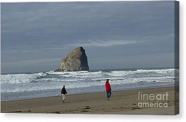 Canvas Print featuring the photograph Walking On The Beach by Susan Garren
