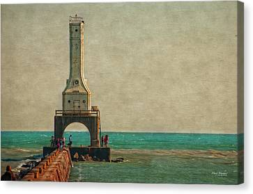 Walking On The Breakwater Canvas Print