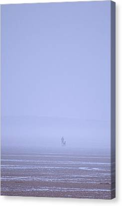 Walking The Dog In The Mist Canvas Print