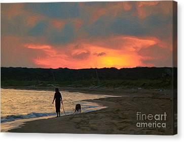 Walking The Dog Canvas Print by Jeff Breiman