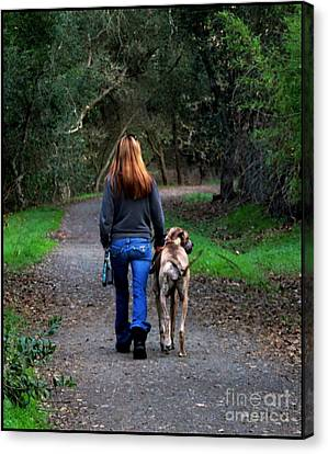 Walking The Dog Canvas Print by Leslie Hunziker