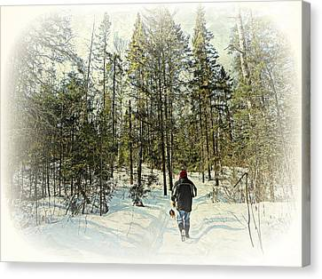 Walking The Dog On A Snowy Trail Canvas Print by Dianne  Lacourciere