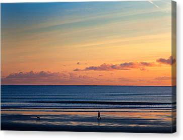 Walking The Dog, Tramore, County Canvas Print by Panoramic Images