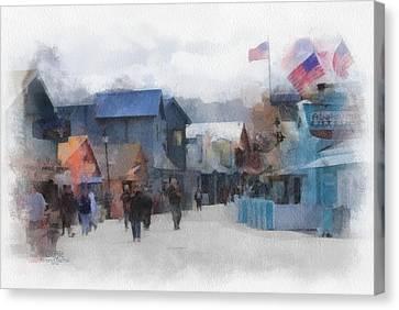 Walking The Wharf Canvas Print