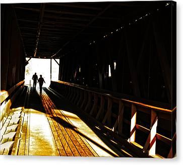 Walking Through History - Elizabethton Tennesse Covered Bridge Canvas Print by Denise Beverly